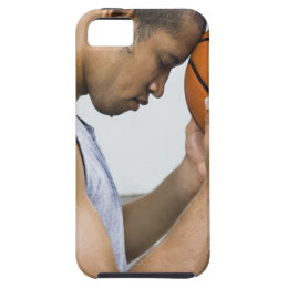 sweating man leaning forehead on basketball iPhone SE/5/5s case
