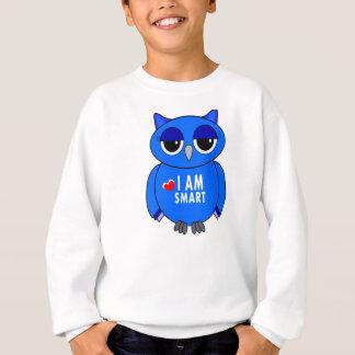 sweatshirt cartoon blue owl I AM SMART