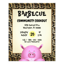 Sweaty Pink Cartoon Pig | Barbecue Flyer