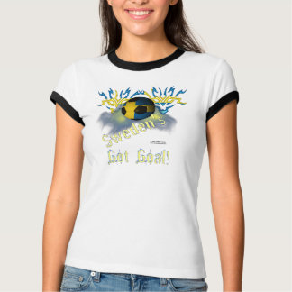 Swede Football Goal Ladies Ringer T-Shirt