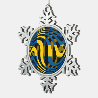 Sweden #1 snowflake pewter christmas ornament