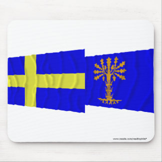 Sweden and Blekinge län waving flags Mouse Pad