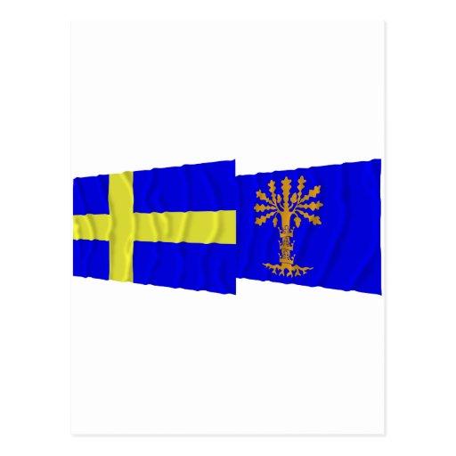 Sweden and Blekinge län waving flags Postcards