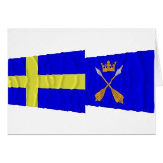 Sweden and Dalarnas län waving flags Card