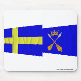 Sweden and Dalarnas län waving flags Mouse Pads