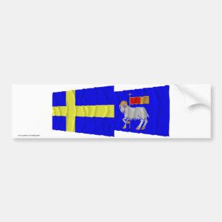 Sweden and Gotlands län waving flags Bumper Sticker