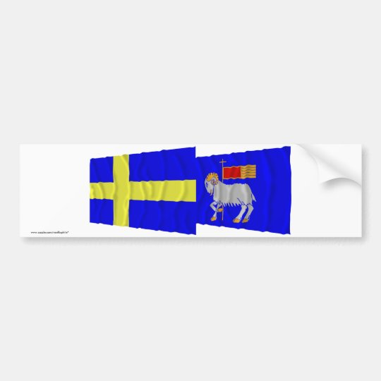 Sweden and Gotlands län waving flags Bumper Sticker