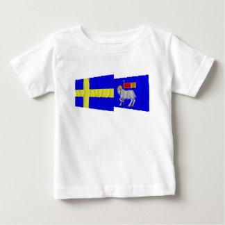 Sweden and Gotlands län waving flags T Shirt