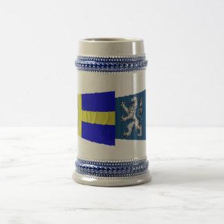 Sweden and Hallands län waving flags 18 Oz Beer Stein
