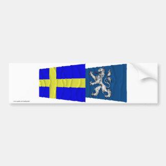 Sweden and Hallands län waving flags Car Bumper Sticker