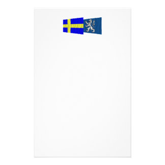 Sweden and Hallands län waving flags Customized Stationery
