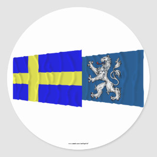 Sweden and Hallands län waving flags Classic Round Sticker