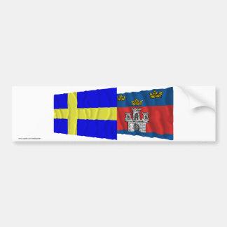 Sweden and Jönköpings län waving flags Bumper Sticker