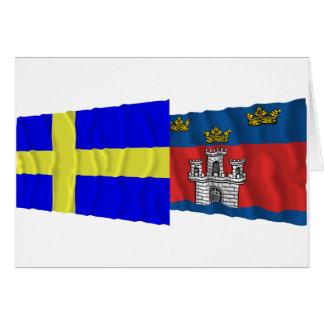 Sweden and Jönköpings län waving flags Card