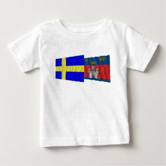 Sweden and Jönköpings län waving flags Tee Shirt