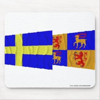 Sweden and Kalmar län waving flags Mouse Pad