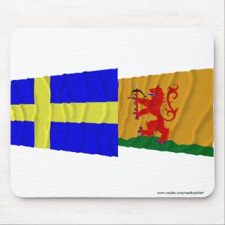 Sweden and Kronobergs län waving flags Mousepads
