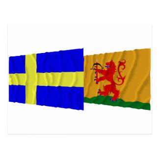 Sweden and Kronobergs län waving flags Postcard