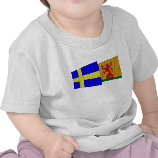 Sweden and Kronobergs län waving flags T-shirts