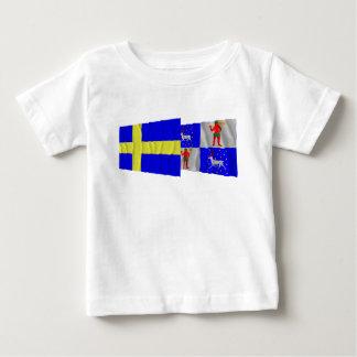 Sweden and Norrbottens län waving flags Shirt