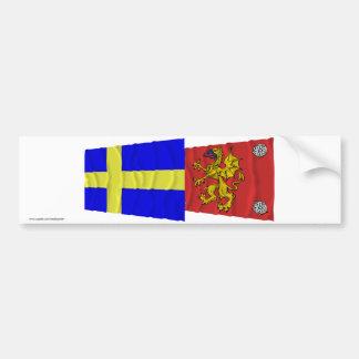 Sweden and Östergötlands län waving flags Bumper Sticker