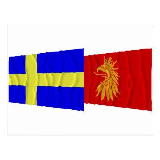 Sweden and Skåne län waving flags Postcard