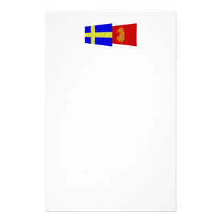 Sweden and Skåne län waving flags Customized Stationery