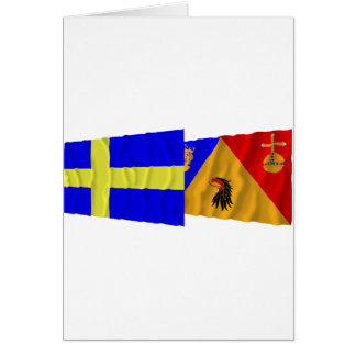Sweden and Stockholms län waving flags Card