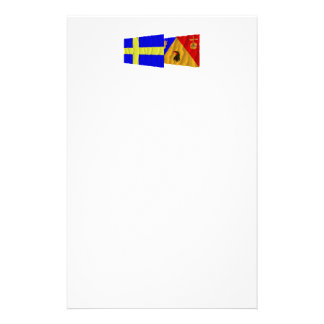 Sweden and Stockholms län waving flags Customized Stationery