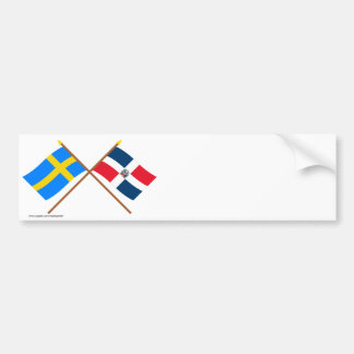 Sweden and the Dominican Republic Crossed Flags Car Bumper Sticker