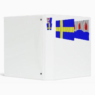Sweden and Västmanlands län waving flags 3 Ring Binder