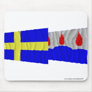 Sweden and Västmanlands län waving flags Mouse Pad