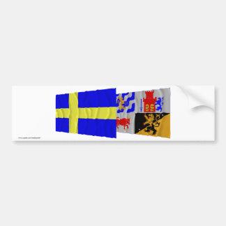 Sweden and Västra Götalands län waving flags Bumper Sticker