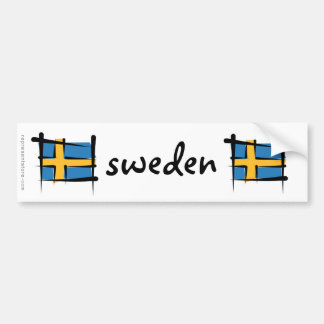 Sweden Brush Flag Bumper Sticker