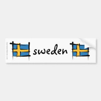 Sweden Brush Flag Car Bumper Sticker