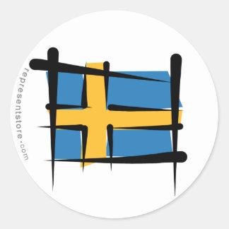 Sweden Brush Flag Classic Round Sticker