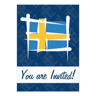 Sweden Brush Flag Custom Invitation