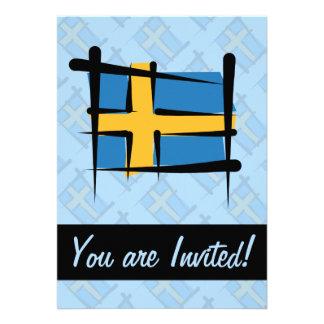 Sweden Brush Flag Invite