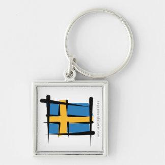 Sweden Brush Flag Keychain