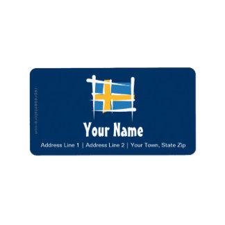 Sweden Brush Flag Label