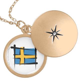Sweden Brush Flag Locket Necklace