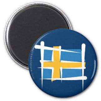 Sweden Brush Flag Magnet