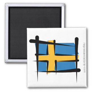 Sweden Brush Flag Magnet