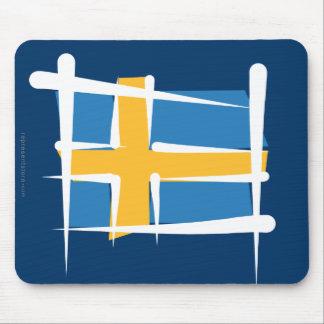 Sweden Brush Flag Mouse Pad