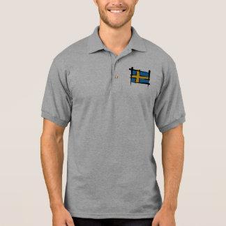 Sweden Brush Flag Polo Shirt