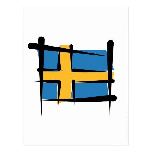 Sweden Brush Flag Postcard