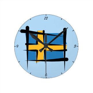 Sweden Brush Flag Round Clock