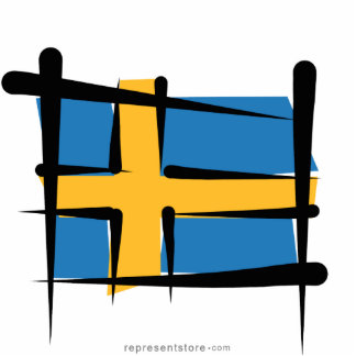 Sweden Brush Flag Statuette