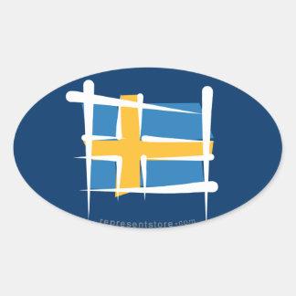 Sweden Brush Flag Oval Sticker