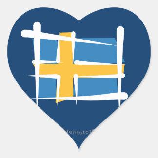 Sweden Brush Flag Heart Sticker